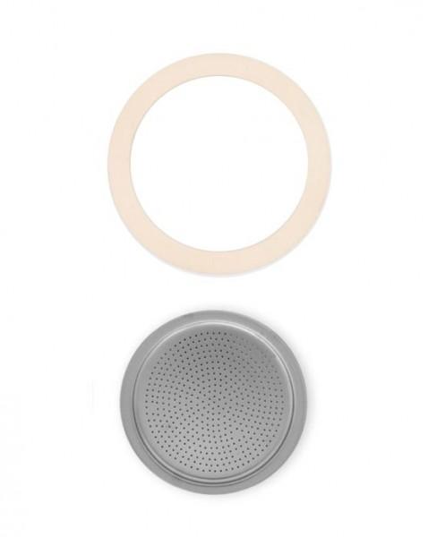 Bialetti Ersatz Dichtung 1 x und Sieb 1 x für Aluminium Espressokocher 18 Tassen