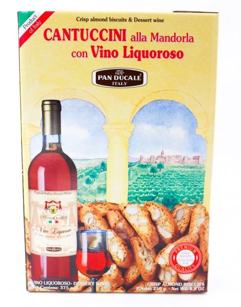 Pan Ducale Cantuccini alla Mandorla 250 g con Vino Liquoroso 375 ml - 16 % Vol. Alk.