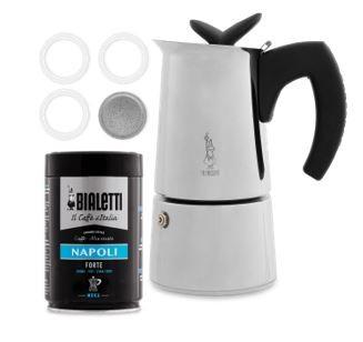 Bialetti Musa Herdkanne inkl. Dichtungsset & 250 g gemahlener Kaffee Napoli