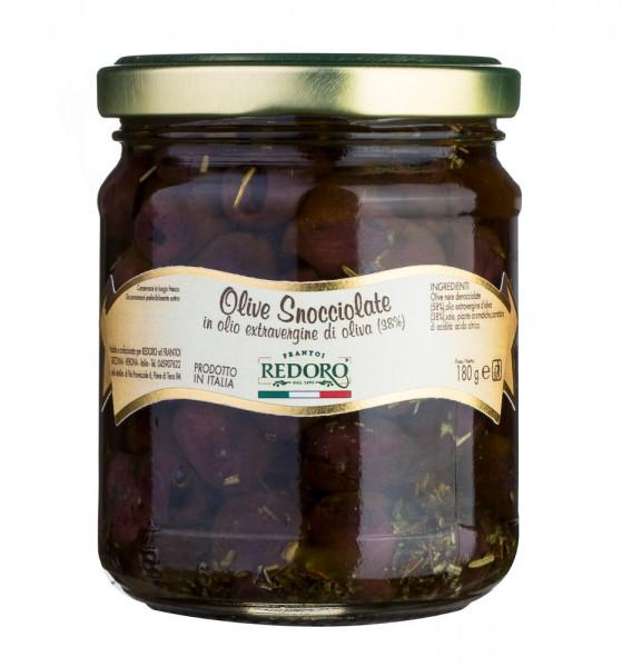 Redoro eingelegte, entsteinte Oliven in Olio extra Vergine