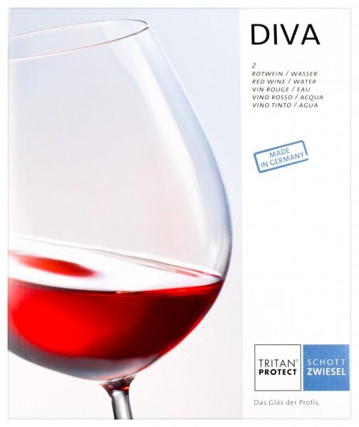 Schott Zwiesel Rotwein/Wasserkelch DIVA Nr. 1 Geschenkkarton