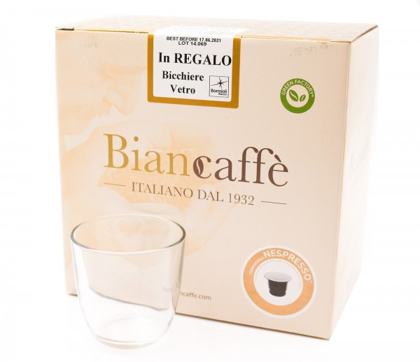 Biancaffe Nespresso Kapseln kompatibel 50 Stück inkl. 1 Glas von Bormioli Rocco