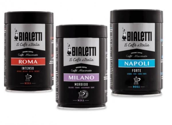 Bialetti Kaffee gemahlen Moka Espressokocher je 2 x Roma, Milano, Napoli je 250g