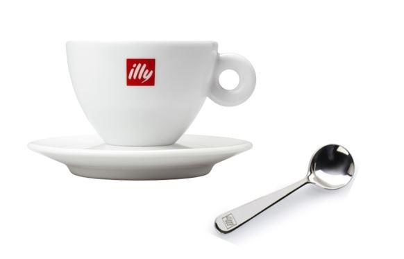 illy Logo Cappuccinotasse 6 x 200 ml inkl. 6 x illy Espressolöffel Girotondo