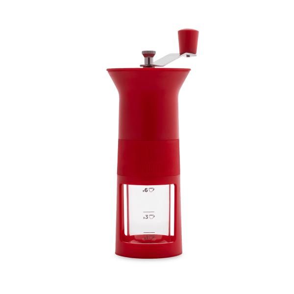 Bialetti Hand Kaffeemühle, Macina Caffè rot mit Keramikmahlwerk