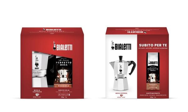 Bialetti Moka Express Herdkanne 6 Tassen + 200 g Nocciola Kaffee gemahlen