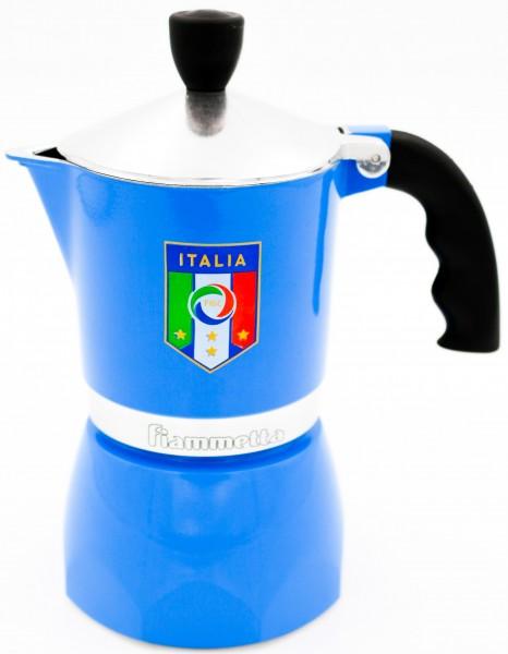 Bialetti Espressokocher Fiammetta 3 Tassen Herdkanne aus Aluminium Nazionale Azzurri