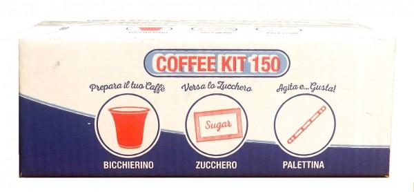 Espresso Coffee KIT mit je 150 Becher, Rührstäbchen & Zuckertüten